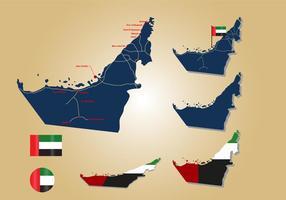 Mappa e bandiera degli Emirati Arabi Uniti