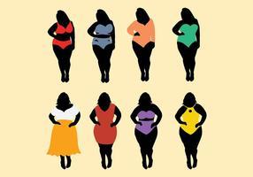 Vettore libero delle icone delle donne grasse