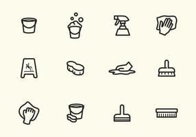 Icone semplici di pulizia del colpo di vettore