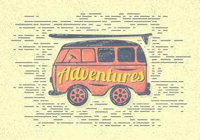 Avventure vintage gratis Van Vector Illustration