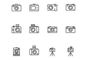 Fotocamera icone sottili vettore