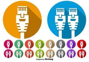 Insieme di vettore dei pulsanti icona porta Ethernet
