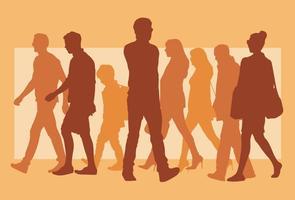 persone che camminano silhouette vettore