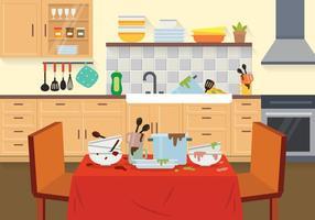 Illustrazione di piatti sporchi