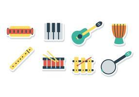 Icone di adesivo di armonica gratis vettore