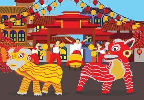 Illustrazione di danza del leone gratis vettore