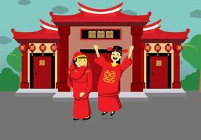 Illustrazione di matrimonio cinese gratis vettore
