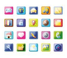 gruppo di icone di app mobile vettore