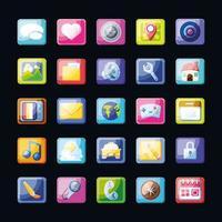 gruppo di icone di app mobili vettore