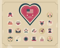set di icone di celebrazione del giorno dell'indipendenza vettore