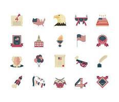 icone del giorno dell'indipendenza vettore
