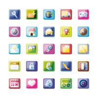 raccolta di icone di app mobile vettore
