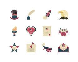 set di icone della celebrazione del giorno dell'indipendenza vettore