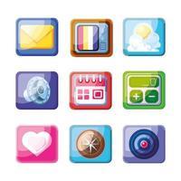 raccolta di icone di app mobili vettore