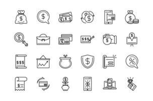 raccolta di valuta e icone di business line-art vettore