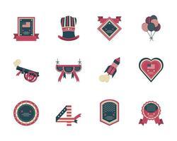 raccolta di icone del giorno dell'indipendenza vettore