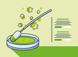 infografica con icona del campione di molecola di coronavirus