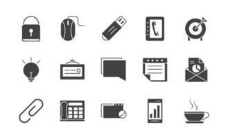 confezione di forniture per ufficio e icone di sagoma di cancelleria vettore