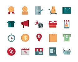 pacchetto di icone di illustrazione vettoriale di commercio e affari commerciali