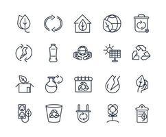 pacchetto di icone line-art ecologia e ambiente vettore