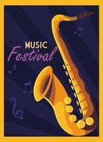 poster del festival musicale con il sassofono vettore
