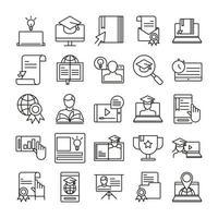 set di icone di formazione online vettore