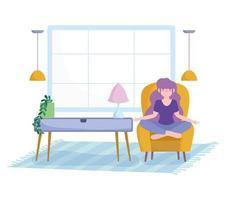 giovane donna in soggiorno meditando su una sedia vettore