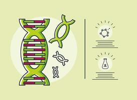 infografica con molecola di DNA e ricerca sul coronavirus vettore