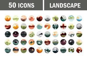 set di icone circolari di paesaggio e natura vettore