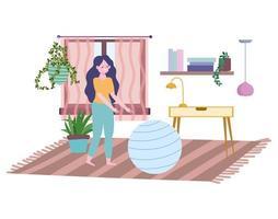 giovane donna in soggiorno con palla fitness vettore