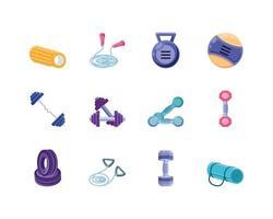 set di icone di fitness vettore