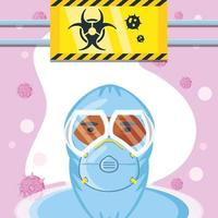 uomo in tuta protettiva e segnale di rischio biologico di coronavirus vettore