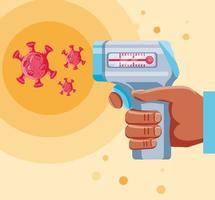 mano di medico che tiene termometro digitale vettore
