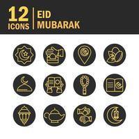 eid mubarak celebrazione tradizionale icon pack vettore