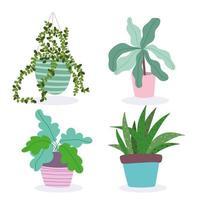 set di graziose piante in vaso di interior design vettore