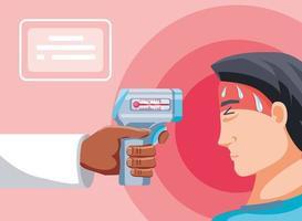mano di medico che tiene termometro digitale con uomo malato vettore