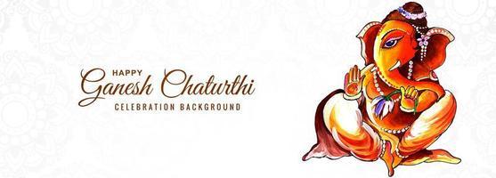 acquerello lord ganesha per ganesh chaturthi card banner