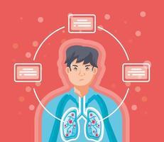 uomo con i polmoni colpiti da virus