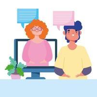 uomo e donna che parlano comunicando tramite riunione virtuale vettore