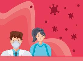 medico con maschera medica e paziente