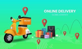 shopping sfumato verde sul design del servizio di consegna mobile vettore