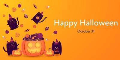 banner di halloween con gatti neri che godono di caramelle vettore