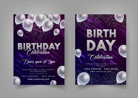 inviti di compleanno luce incandescente viola con palloncini trasparenti vettore
