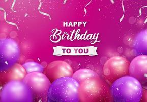 volantino di compleanno con palloncini colorati fucsia e scintillii vettore