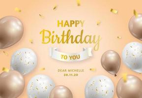 volantino di compleanno con palloncini dorati e bianchi