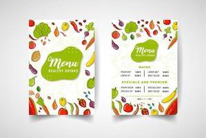 menu del ristorante vegetariano in stile colorato