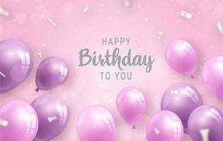 volantino di compleanno con palloncini e coriandoli d'argento vettore