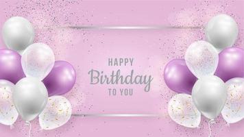 volantino di compleanno con palloncini viola e bianchi vettore