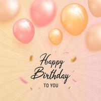 volantino di compleanno con palloncini e scintillii vettore