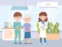 medico e infermiere che si prendono cura di un paziente anziano vettore